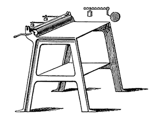 Apparatus consisting of an inking roller, a distributing table, and an ink trough