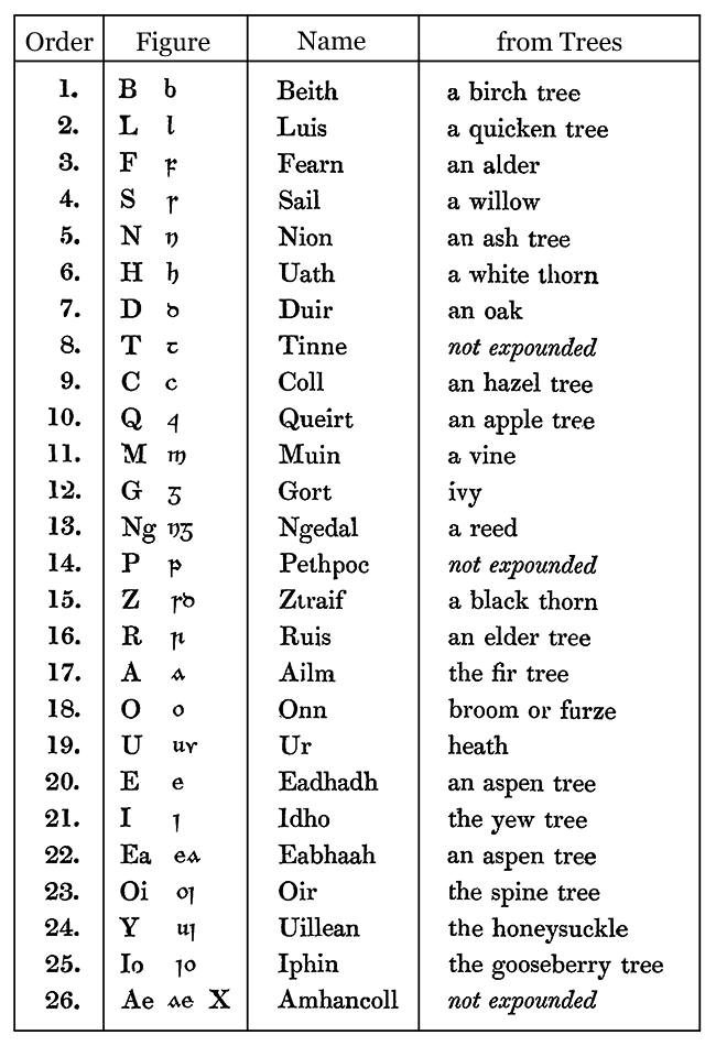 Irish alphabet, from the Book of Lecane