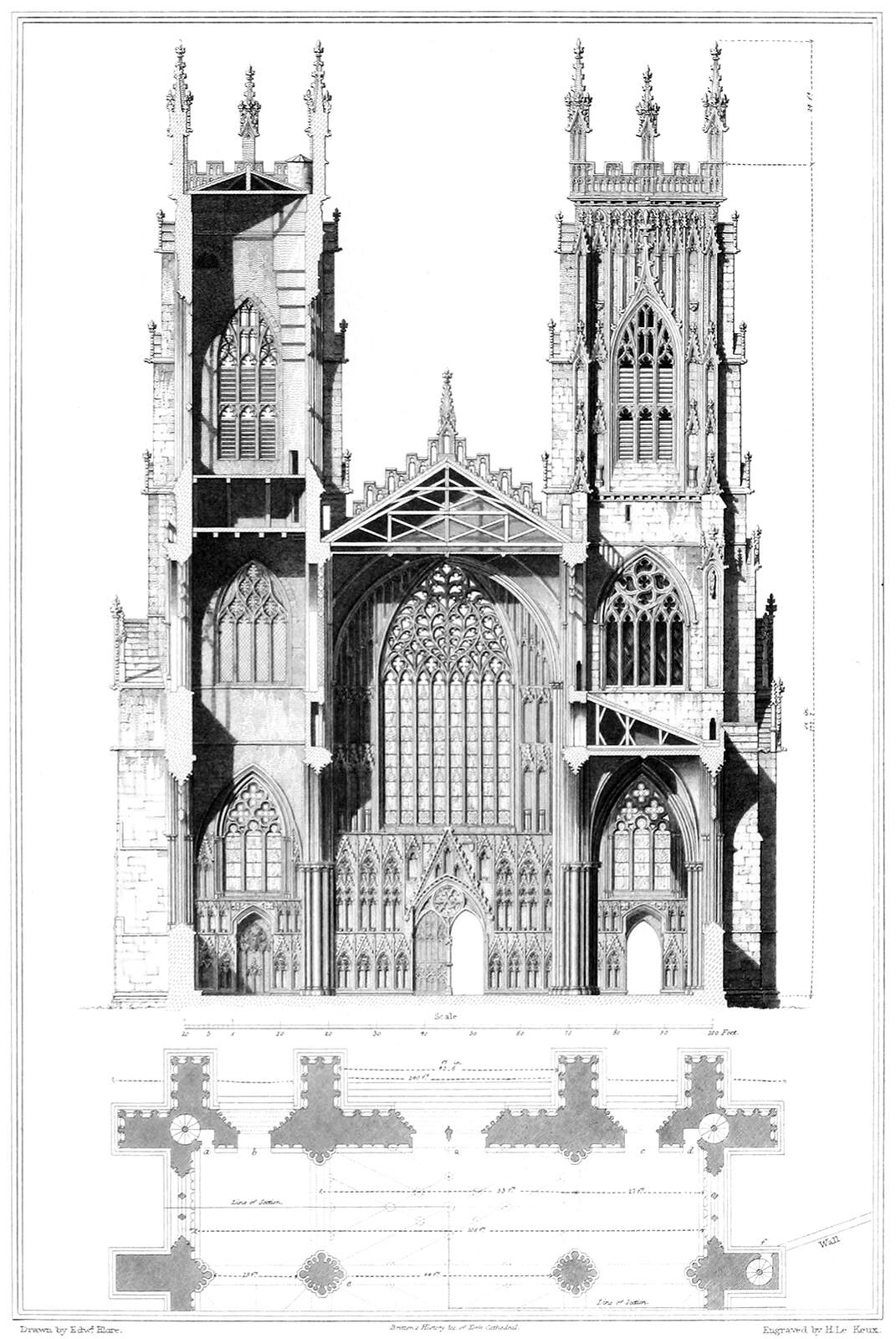 York Cathedral  Elevation And Section  U2013 Old Book Illustrations