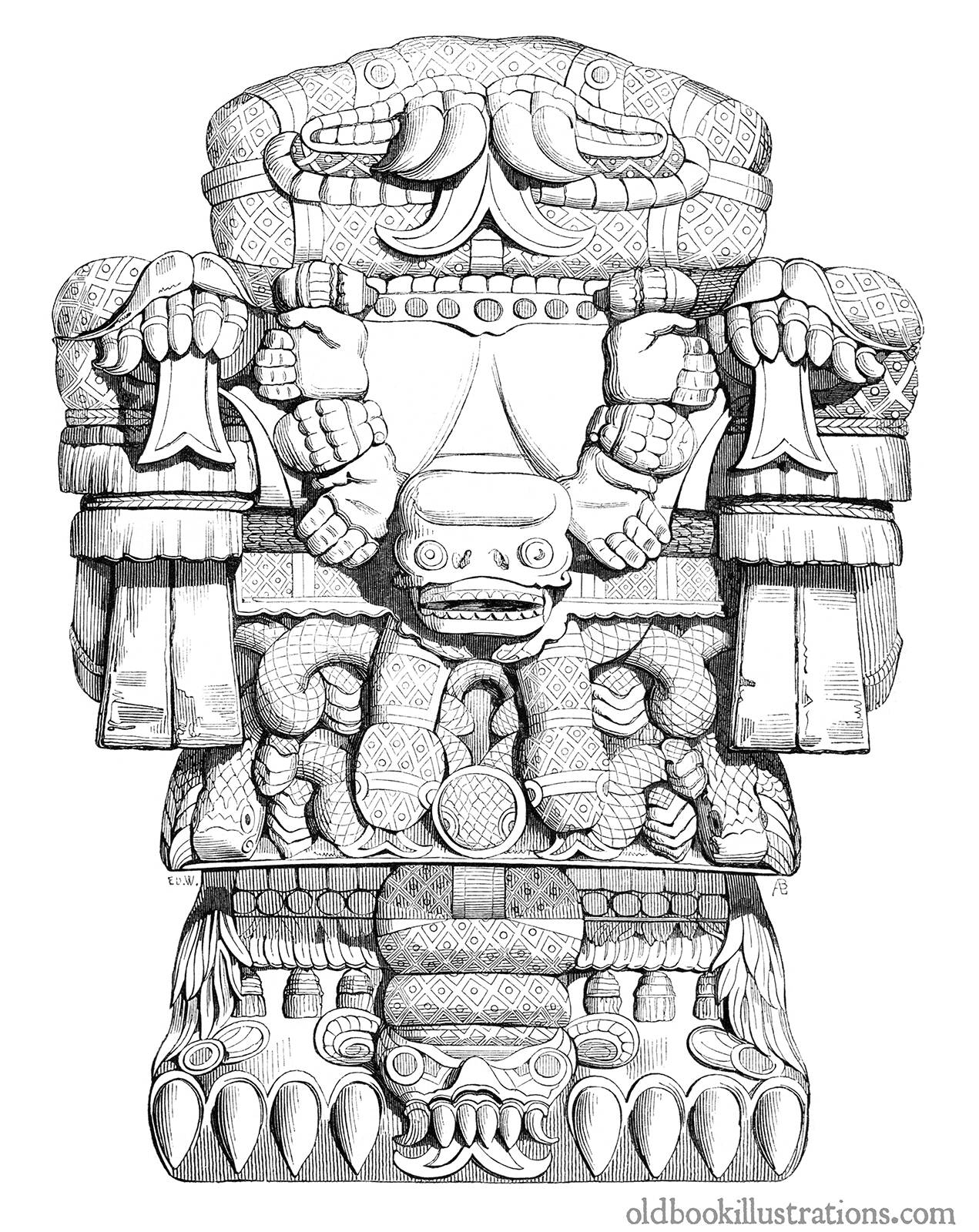 Aztec Goddess Coatlicue – Old Book Illustrations