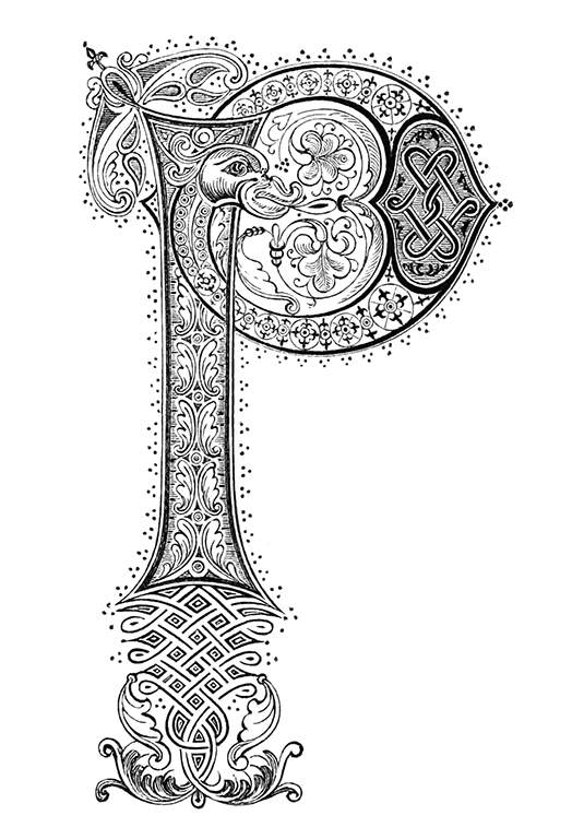 Medieval Initial P  U2013 Old Book Illustrations