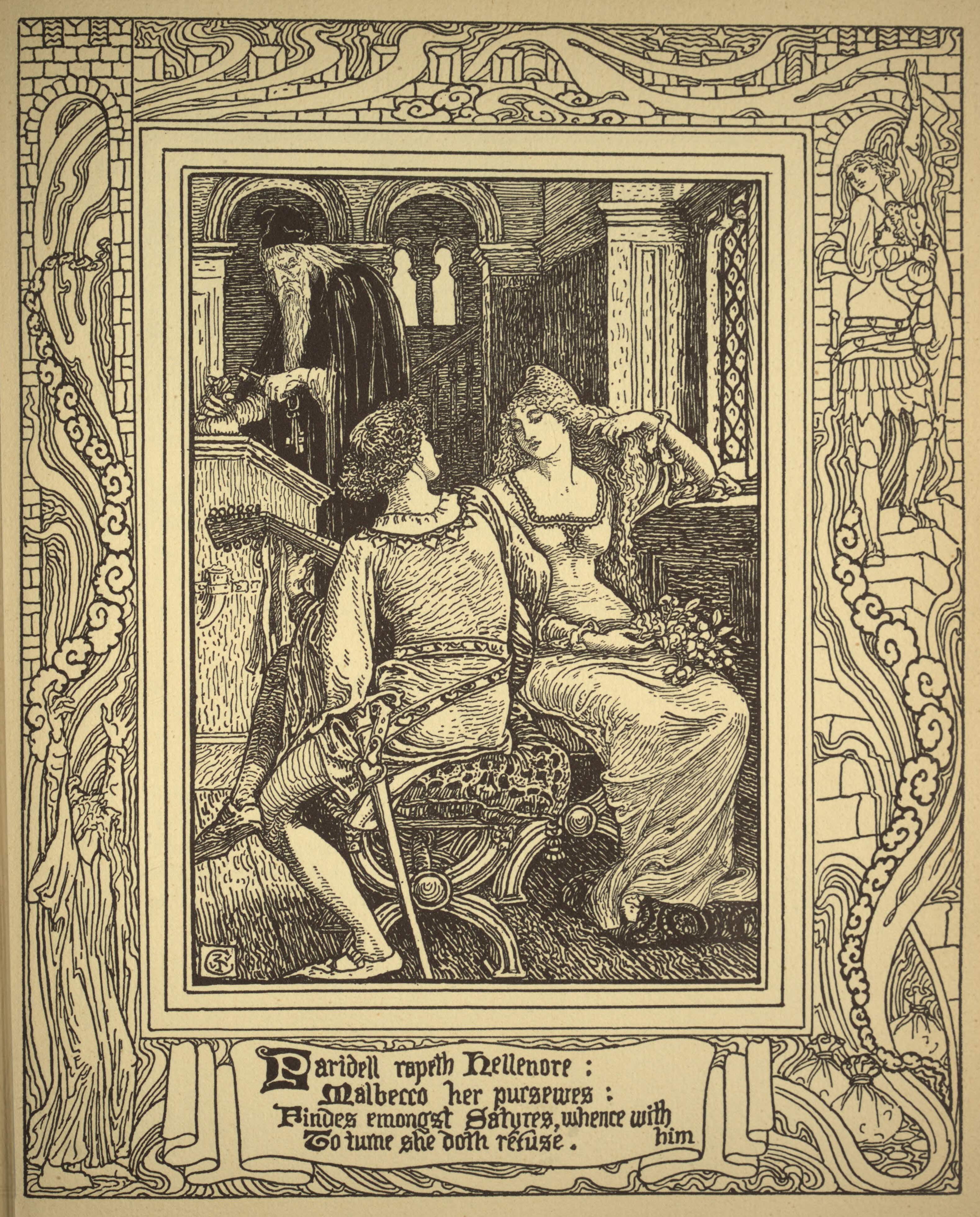 Old Book Illustrations: Paridell & Hellenore
