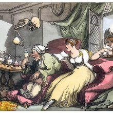 Death pours wine to a man eager to drink while his wife lets a younger man kiss her hand