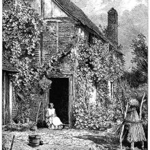 A seated woman is knitting at the door of the kitchen garden on a sunny summer day