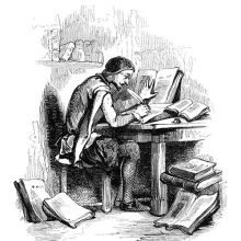 A man sits writing at a desk in a corner of a study