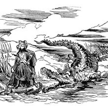 A gigantic crocodile seems on the verge of attacking a man on a boat