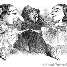 Caricature of two ballet dancers