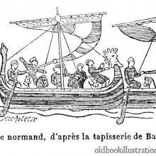 Illustration made from the Bayeux Tapestry showing a Norman ship