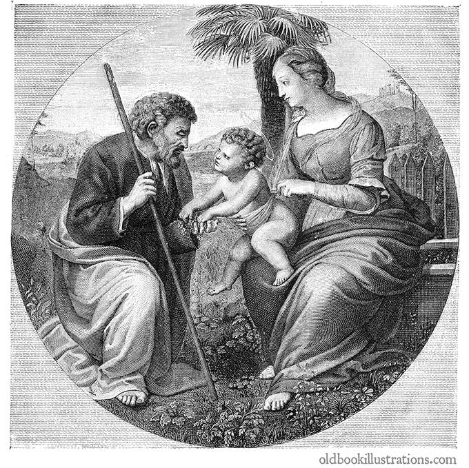 holy family with the palm tree