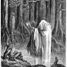 A ghost-like figure rises from the swamp holding an ax in front of a bewildered woodman