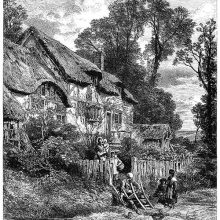 A chair mender is at work by the gate of a thatched cottage
