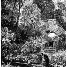 A woman fills a jug at a pond surrounded by luxuriant vegetation at a thatched cottage.
