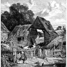 A farm-yard with sheds, a few cows, a small pond with ducks, and a water pump