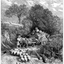 On a sunken lane, a small herd of sheep is on its way to the market, followed by a cart