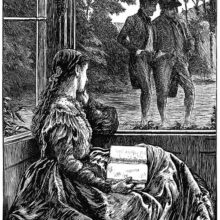 A woman sitting on a porch with a book in her lap watches two men walk by