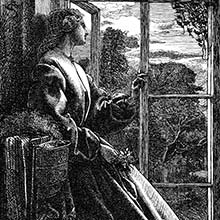 A woman reclining by a half-open window looks thoughtfully at the evening landscape