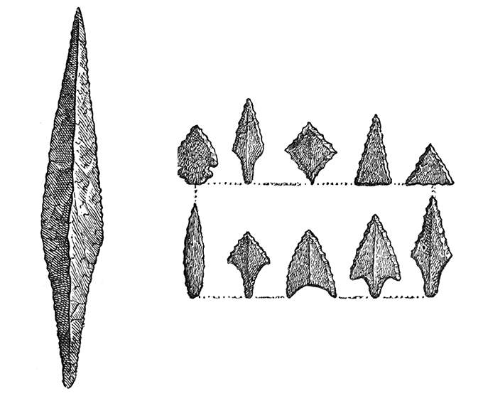 Flint Spear and Arrow-Heads
