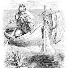 Arthur receives the sword Excalibur from the hand of the Lady of the Lake
