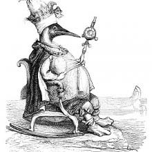 An auk wearing a tiara is sitting on a throne with a scepter in one hand and an egg in the other