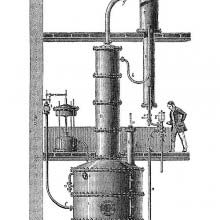 Cross section of a distillery showing Désiré Savalle's device for rectifying alcohol