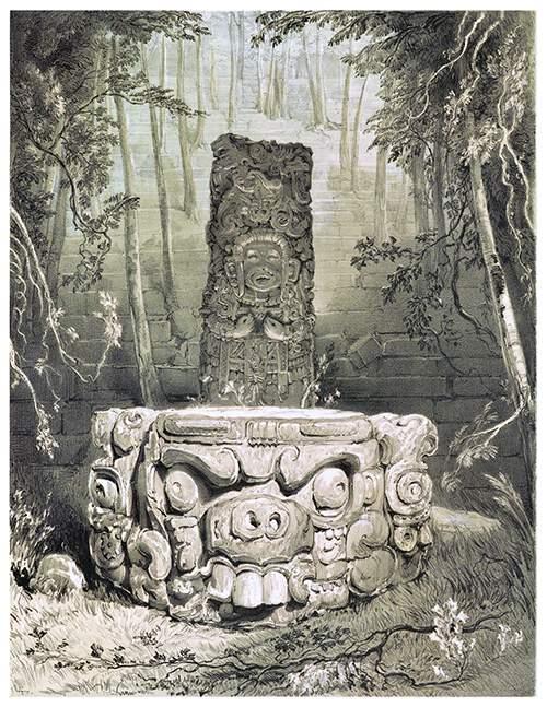 Idol and altar at Copan