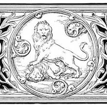 Illustrated Heading with Lions