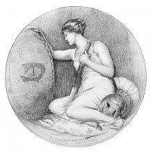 A grieving woman sits leaning on a shield