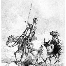 Don Quixote riding his mare Rocinante turns to Sancho to show him a cloud of dust