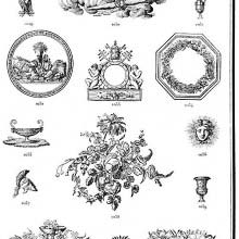 Ornaments 1027 to 1045 from Gillé's 1808 catalog