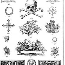 Ornaments 1453 to 1474 from Gillé's 1808 catalog.