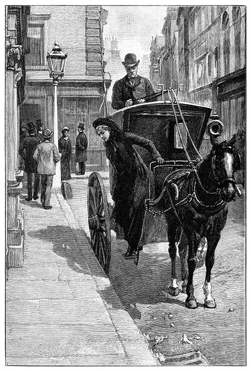 A woman steps out of a hansom cab