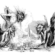 Three gigantic, monstrous devils revel in watching a human battle