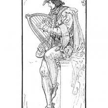 Portrait of Alan-a-Dale sitting and playing the Celtic harp