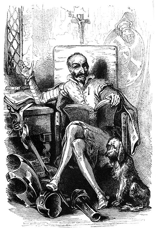 Portrait of Don Quixote sitting in an armchair with a book on his lap