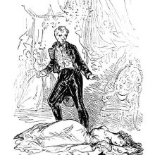 A man stands in shock before the unconscious body of a woman