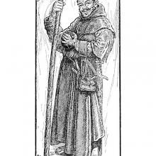 Full-length portrait of sturdy Friar Tuck
