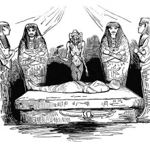 A shrouded mummy lies on a stone bed