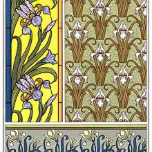 Art Nouveau ornamental patterns with iris design