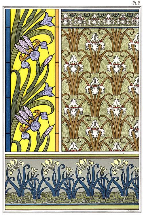 Art Nouveau ornamental patterns with iris design