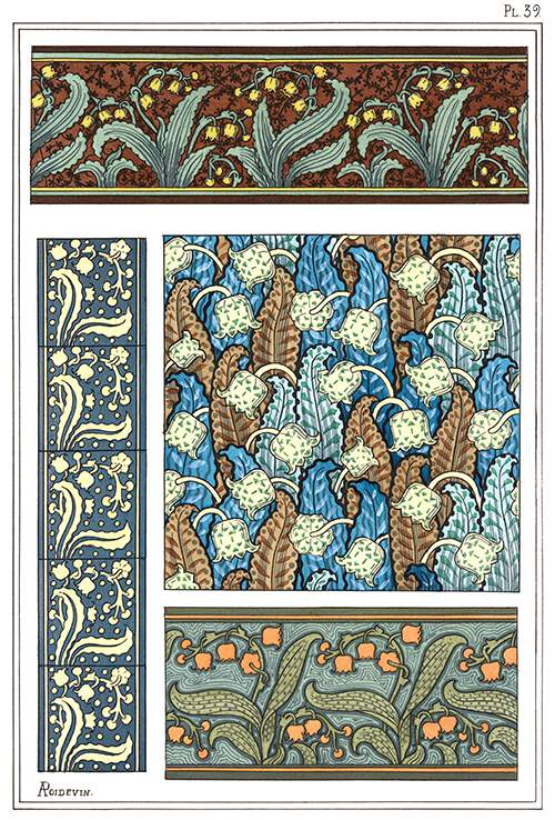 Art Nouveau ornamental patterns with lily of the valley design