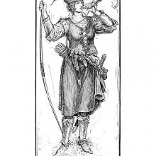 Portrait of Maid Marian blowing a horn and holding a bow