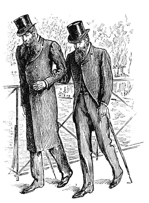 Two bearded men wearing top hats walk gloomily arm in arm on a bridge