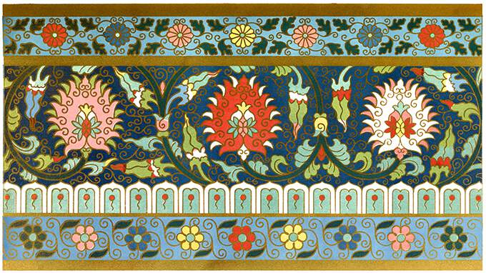 Ornament with floral design from a basin in cloisonné enamel