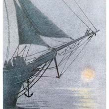 The bow of a ship can be seen with a small creature sitting on the bowsprit