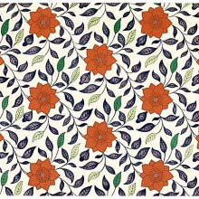 Reddish ochre floral design with a background of blue and green leaves