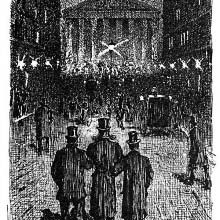 Three men are seen from behind walking at night, arm in arm