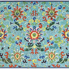 Floral pattern with meandering shoots against a blue background