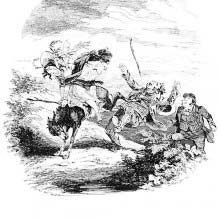 A woman rides a donkey which kicks out
