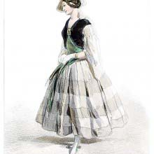 Fashion plate showing a woman wearing a striped dress with a green bodice