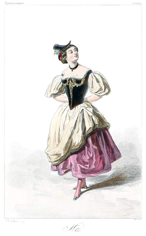 Woman wearing a dress with puffed sleeves and a fuchsia underskirt visible on one side